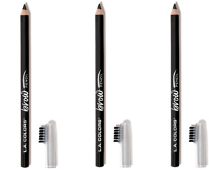 L.A. COLORS Matte Black Brow Pencils Set 3 Pack Smooth Gliding FREE SHIPPING