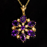 Antique Victorian Amethyst & Seed Pearl Pendant Necklace & Brooch 9ct Gold c1900