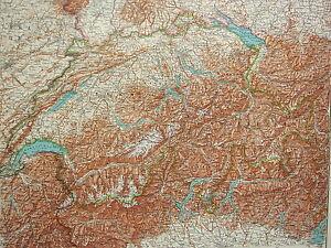 1907 DATED MAP ~ WESTERN SWITZERLAND GENEVA GRAUBUNDEN WALLIS ALPS PHYSICAL