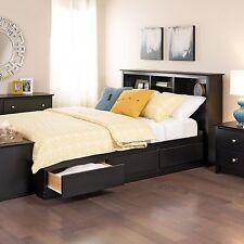 Prepac Sonoma Black Queen Platform Storage Bed with 6 Drawers