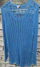 J Jill Size XL Blue Crochet Fishnet Sweater Jumper Round Neck Tunic Style
