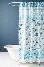 Anthropologie Bennet Shower Curtain Blue & White Floral Print New