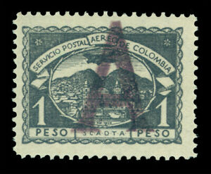 """COLOMBIA 1921 AIRMAIL - SCADTA - Germany """"A"""" handstamp 1p gray Sc# CLA8 mint MNH"""