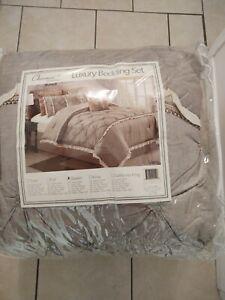 Chezmoi Collection Vera Khaki Ivory Queen Comforter Set 8 Piece