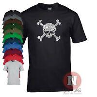 Skull and crossbones t-shirt mosaic style pirate grunge tee