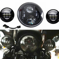 """Black 7"""" Motorcycle LED Projector Headlight & Passing Lights For Harley Touring"""