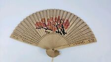 Chinese Wooden Folding Hand Fan with Cherry Blossoms
