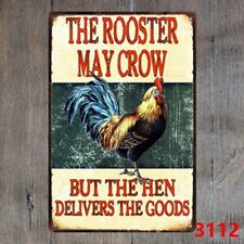 Metal Tin Sign The Rooster May Crow Decor Bar Pub Home Vintage Retro