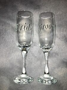 Bride And Groom Personalised Etched Champagne Flutes Hand Etched