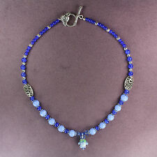 Royal Indigo Silver Flower Rare Blue Rose Necklace Lampwork Catseye Crystals