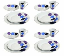 16Pc Complete Dinner Set Crockery Gift Porcelain Plates Bowls Cups Service for 4