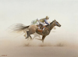 MICHAEL COTTRILL - Limited Signed Print - 'The Last Furlong'