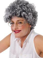 Grey Curly Gran Granny Old Lady Woman Wig Teacher Ladies Fancy Dress Stag Hen