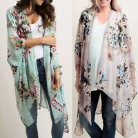 Women S-3XL Plus Size Kimono Cardigan Blouse Chiffon Boho Floral Top Tunic layer