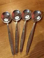 4 X Vintage Elkington & Co Silver Plate  EPNS Soup Spoons 18.5cm