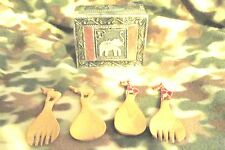 VINTAGE Metal Tea Box Elephant 2 set of Wood Spoons & Forks Giraffes & Elephants