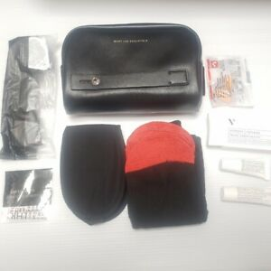 WANT LES ESSENTIELS Black Vinyl Leather Amenity Travel Bag for Air Canada