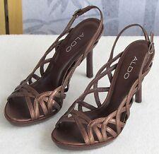6 B | ALDO Josea Women Gold Leather Strappy Open Toe Slingback Pump Heel Sandal