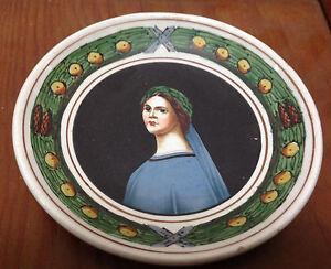 Hand Painted Faience Woman Portrait Miniature Framed 26 Green Leaves Lemons HELP