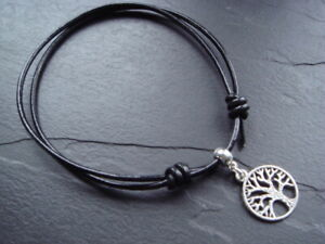 2mm leather cord ankle bracelet silver tree of life charm 8 colours adjustable