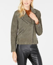 LUCKY BRAND Women's Asymmetric Suede Moto Jacket In Olive Size L New With Tags