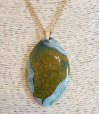 Natural Blue-Green Dragon Veins Agate Gold Plt Stainless Steel Chain Necklace