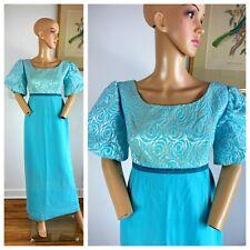 New listing Vtg 50s Crepe Chiffon Blue Party Evening Shimmering Bubble Slv Brocade Dress L