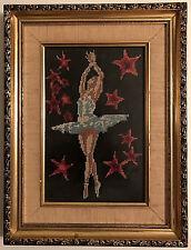 Vintage 60s Ballet Dancer Pirouette Handmade Needlepoint Matted & Framed w/Glass