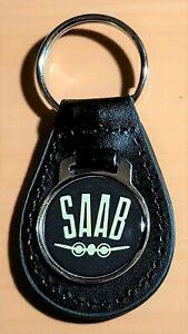 Saab Keyring On Leather - Dimensions Emblem 29mm