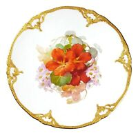 "KPM Orange Floral Daisies Gold Edge Porcelain 8 3/4"" Plate"