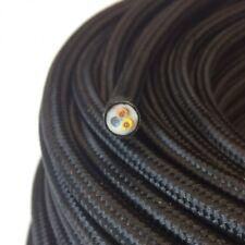 Textilkabel, Stoffkabel, Textilleitung,rund,schwarz 3x0,75mm² H03VV-F