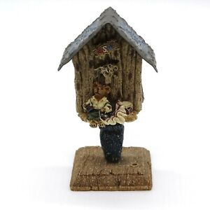 "Boyds Bears Figurine Betsey Home of the Brave Birdhouse Patriotic 4"" tall Flag"