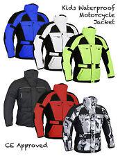 Kids Childrens Waterproof CE ARMOURED Motorcycle Motorbike Cordura Jacket