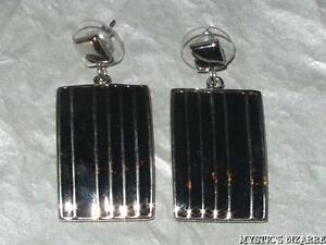 SILVER TONE BLACK ENAMEL RECTANGULAR STRIPE DESIGN DROP EARRINGS
