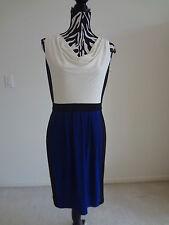 NWT.Ladies' ralph lauren white/black/ blue drapped neck sleeveless dress;8