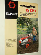 Prospectus  Motoculteur  ISEKI  KC 350 F2 non daté brochure catalogue tractor