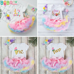 Toddler Baby Girls Birthday Fluffy Skirt Outfits Romper Tops Tutu Clothes Sets