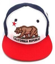 CALIFORNIA REPUBLIC Snapback Cap Hat USA CALI Bear Flag Caps Hats Red White Blue
