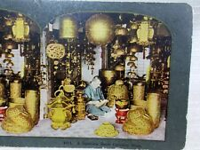 Antique Stereoview Photo Card A Japanese Brass Curiosity Shop Japan Store #1011