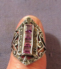 VINTAGE FANCY STERLING SILVER WITH AMETHYST PURPLE COLORED STONES RING SIZE 7
