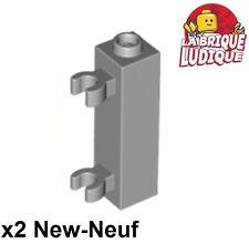 Lego - 2x Brique Brick Modified 1x1x3 clip charnière porte gris/gray 60583b NEUF