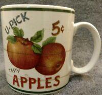 MINT Sakura FARMSTAND FRUIT Mug Cup FRUIT APPLES U Pick tasty David Carter Brown
