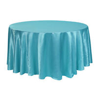 Satin Tablecloth Round Table Cloth Wedding Party Banquet Event Decor 3 Sizes