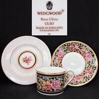 Wedgwood 1992 Clio English Vintage Bone China Trio Set Flat Cup Saucer Plate