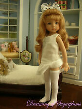 "2 Hand Tied Hairbows & White Thigh Highs Designed For Effner 13"" Little Darling"