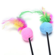 Steel Wire Kitten Cat Toy Feather Rod Teaser Bell Play Pet Dangler Wand LC
