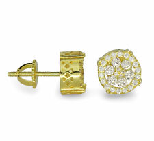 Mens 9mm Round 14k Gold Plated Cz Bling Screw Back Hip Hop Stud Earrings