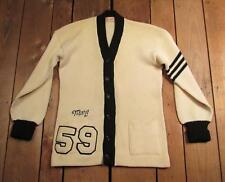 VINTAGE 1950s Lana Universitaria SHAKER Suéter De Punto 2 colores blanco / Negro