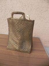 panier stylo pot, art deco sculpture en laiton massif en forme de sac cabas