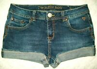 Justice Girls Jean Shorts Size 16R Stretch Denim Rolled Cuff Leg Hem 5 Pocket